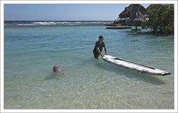 Первые опыты с paddle board.