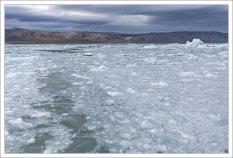 Море, покрытое ледяной кашей.