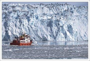 Максимально допустимое расстояние для остановки перед ледником - не доходя 500 метров.