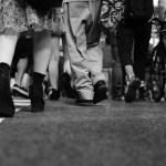 feet crossing the scramble in Shibuya, Tokyo