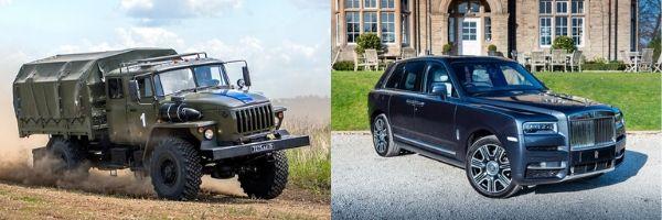 Caminhão militar do lado esquerdo e automóvel Rolls Royce do lado direito