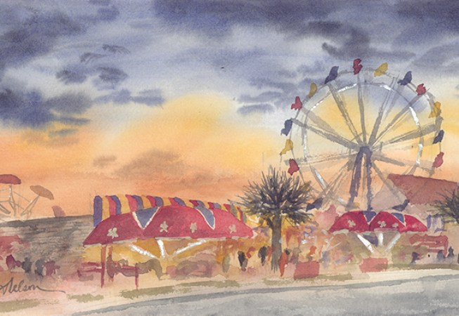 Perhaps My Favorite Painting From Summer In North Myrtle Beach SC Sunset Carnival Illustrates The Life And Energy Given Off By That Lies