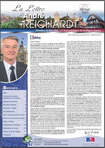 Newsletter André REICHARDT N°4 septembre 2013