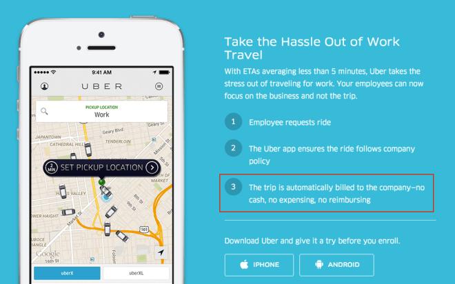 별도의 비용처리가 필요없는 Uber for Business