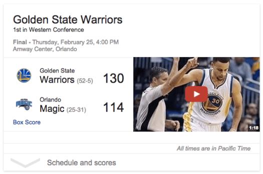 'Warriors'를 검색하면 방금 끝난 경기의 점수와 하이라이트만 보여주는 구글의 검색 카드 디자인.