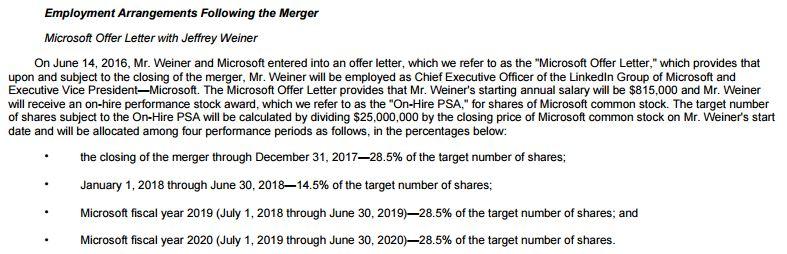 제프 위너의 마이크로소프트 계약서 일부. 멋지다!