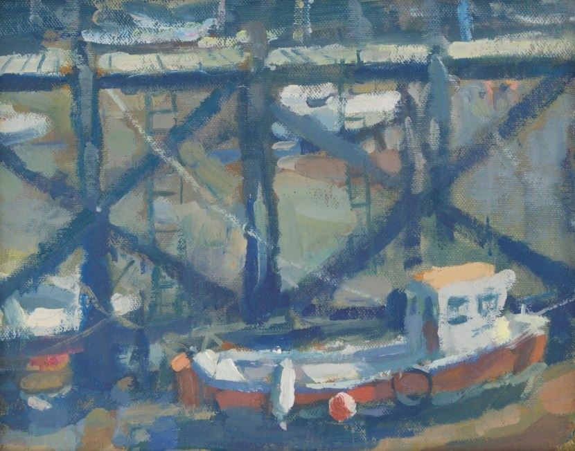 original oil painting of a boat in scarborough harbour