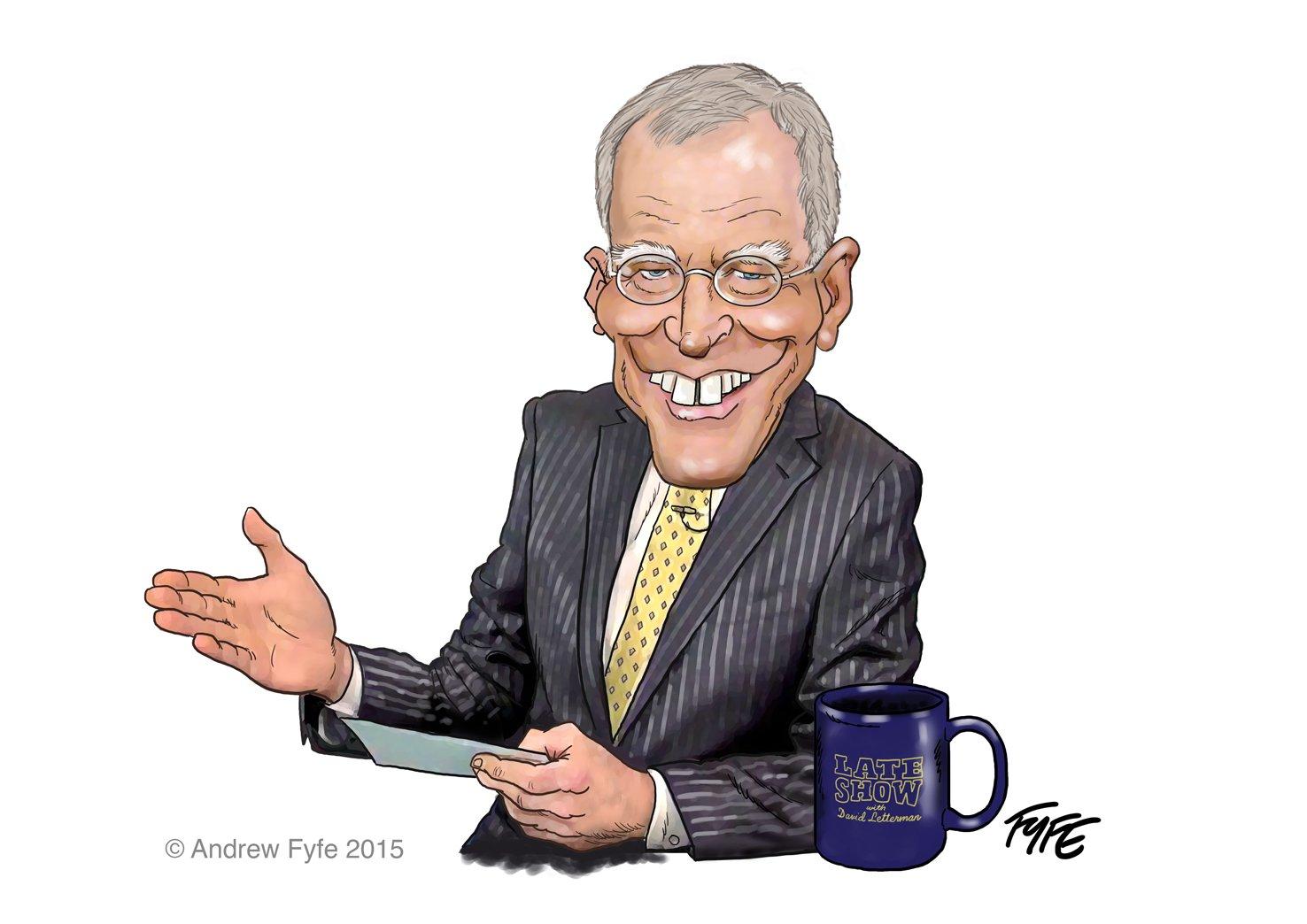 David Letterman caricature, David Letterman cartoon, David Letterman, Late Show with David Letterman