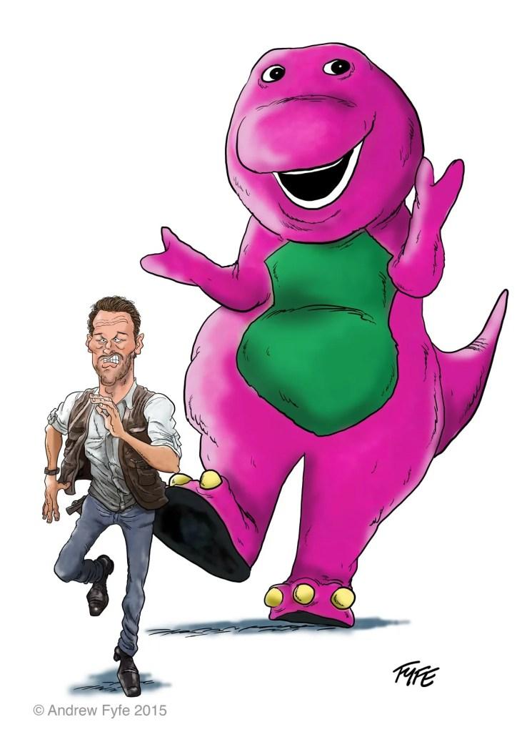 Jurassic World, Jurassic World cartoon, Jurassic World caricature, Chris Pratt caricature, Chris Pratt cartoon, Barney the Dinosaur, Jurassic World art
