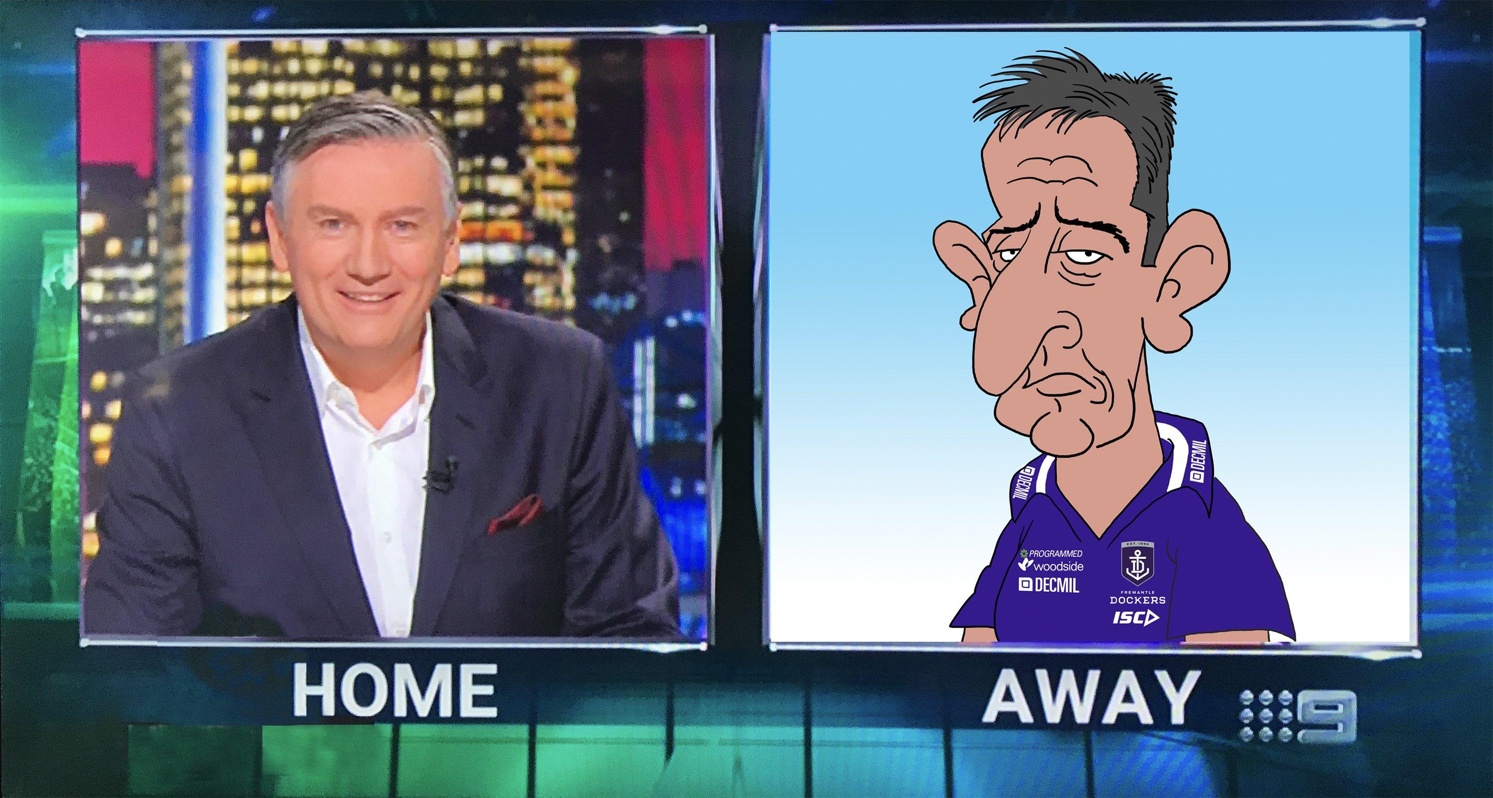 cartoon Ross Lyon, Ross Lyon, australian animation, AFL Footy Show, Live Animation