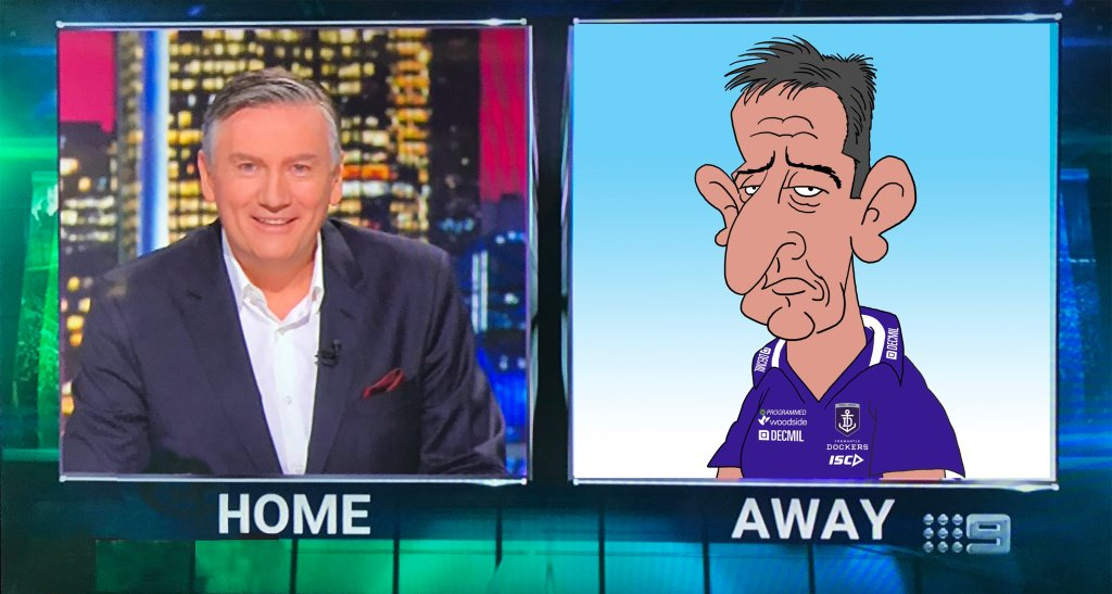 cartoon Ross Lyon, Ross Lyon, australian animation, AFL Footy Show, Live Animation
