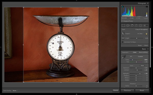 How to uncrop square format photos in Lightroom