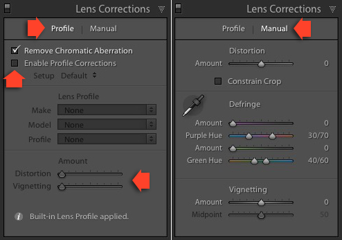 Lightroom Lens Corrections panel