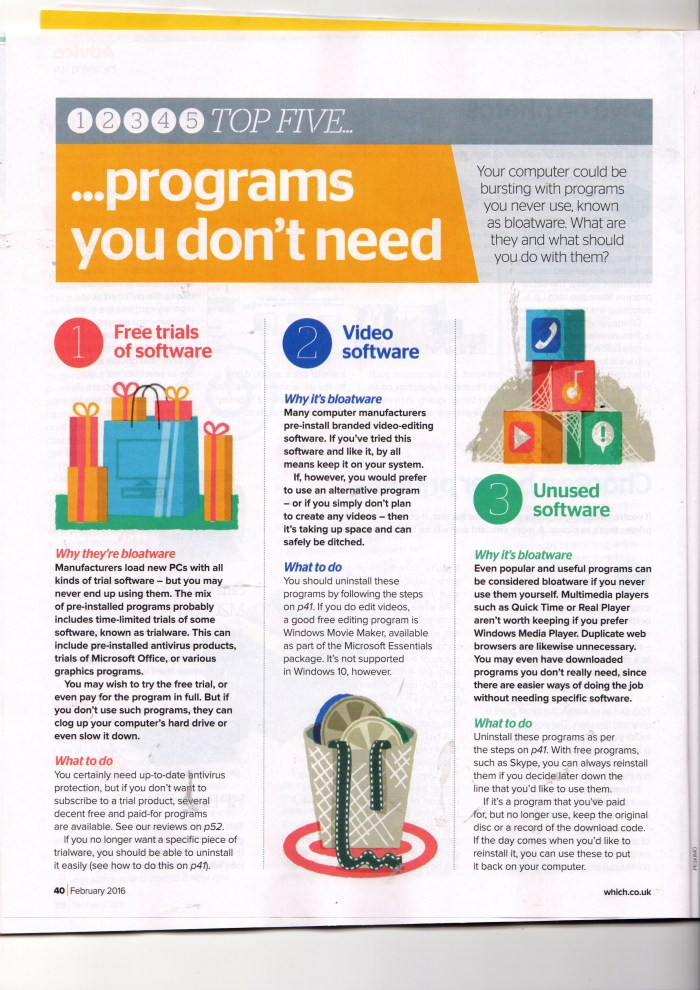 Which> Computing Magazine February 2016, Top 5 Programmes You Don't Need,  p. 1