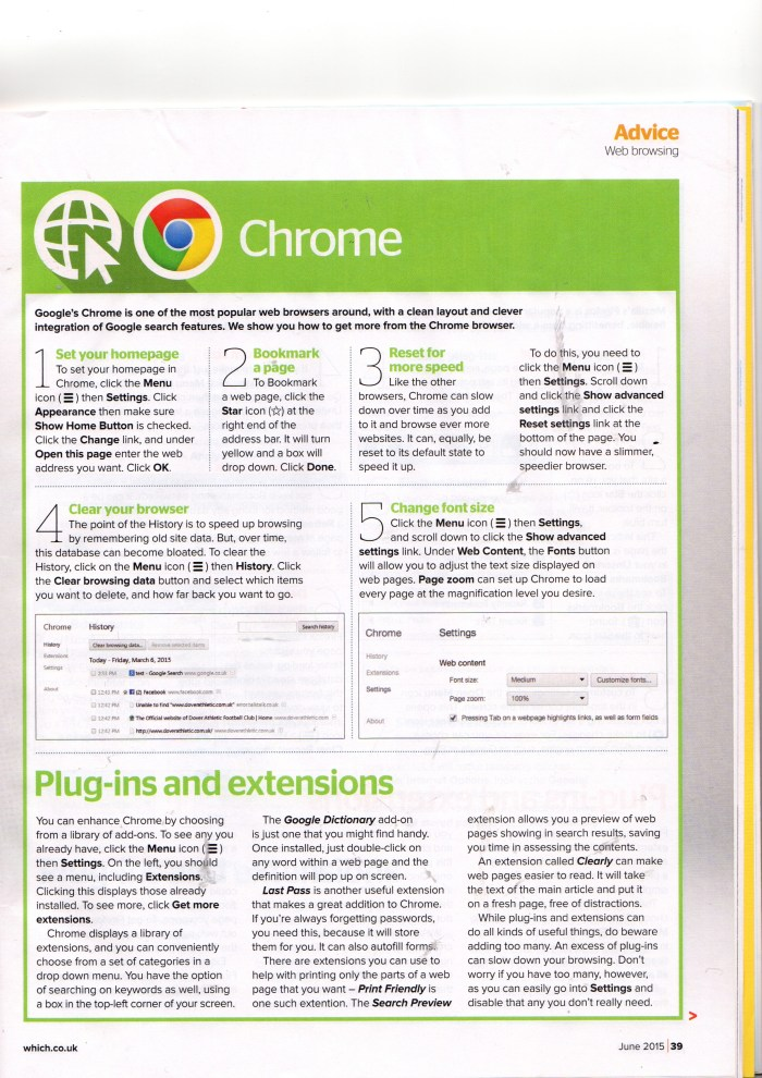 """Which? Computing Magazine June 2015,  """"Easier Web Browsing - Chrome"""", by Andrew Stucken"""