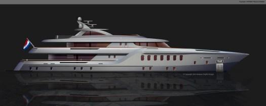 55 Metre motor yacht concept.