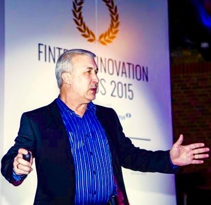 AV on stage at the Fintech Innovation Awards