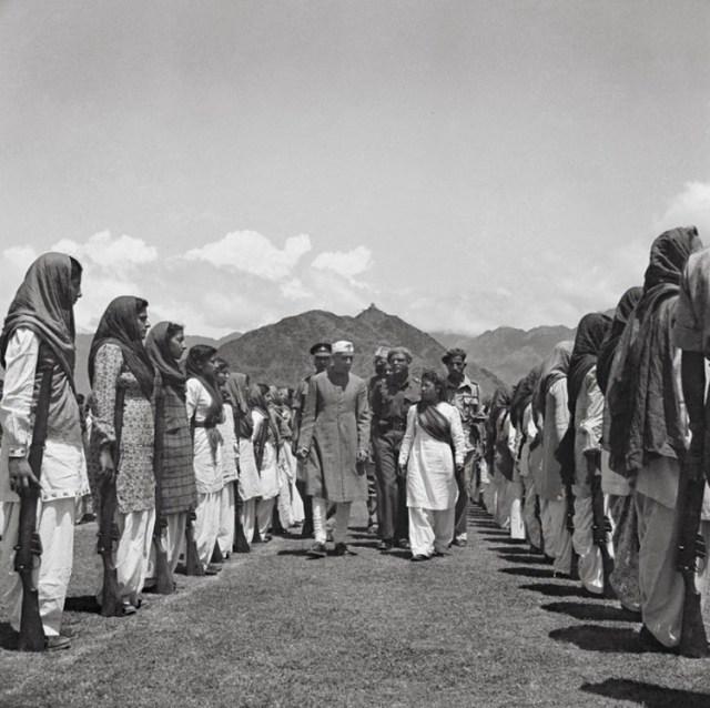 Nehru inspecting the Women's Militia at Srinagar