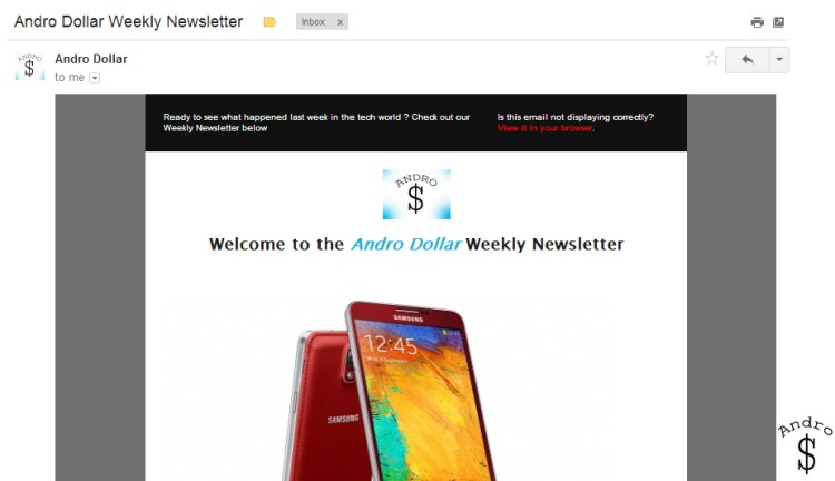 Sample Newsletter Screenshot