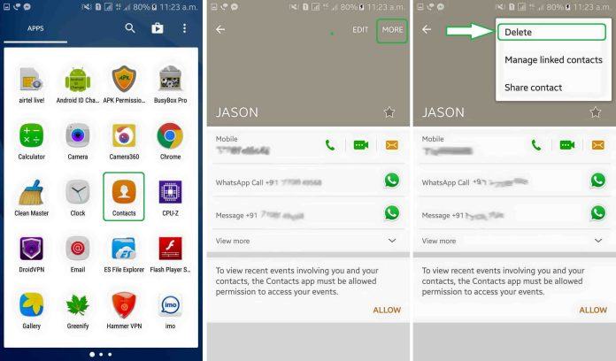 delete block contacts from whatsapp