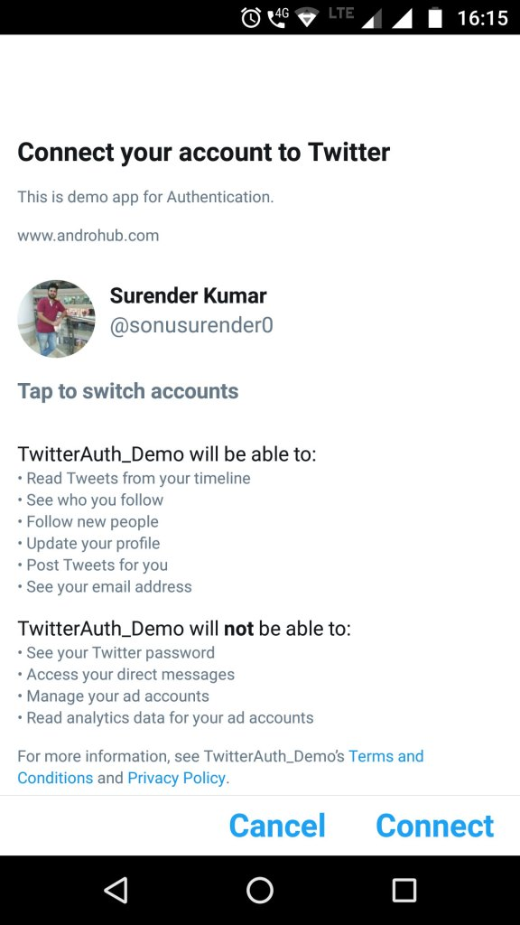 Authenticate Twitter