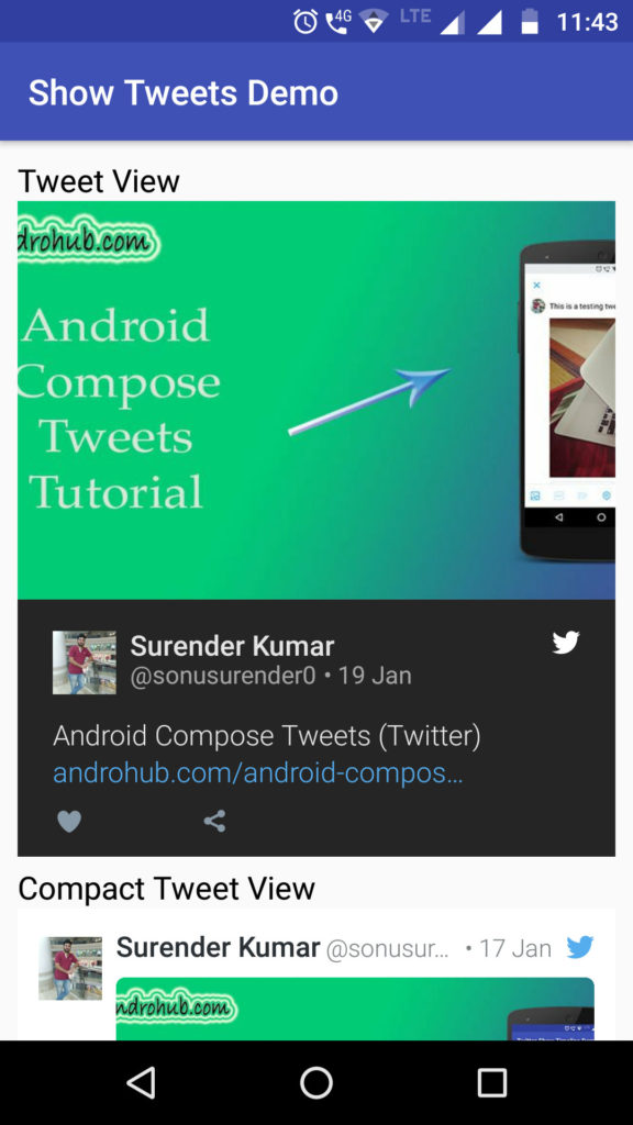 Android Show Tweets - Androhub
