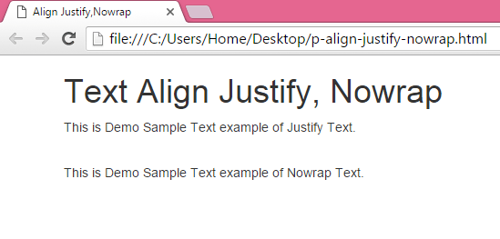 Set paragraph tag text align Justify,Nowrap using ...