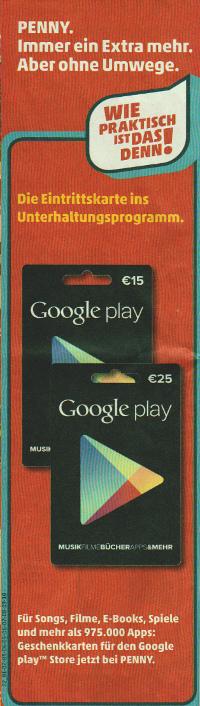 Google Play Guthabenkarte bei Penny