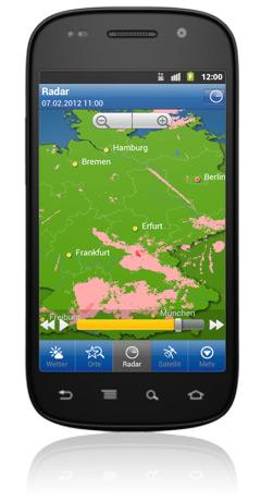WeatherPo mit Premium Radar: Farbliche Unterscheidung zwischen Regen, Hagel, Schnee etc.