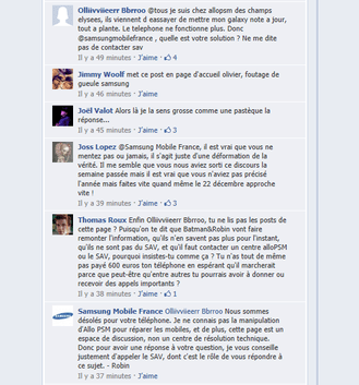Commentaires Facebook Probleme Samsung Galaxy Note Mise a jour Ice Cream Sanwich 4.0.3 SAV AlloPSM