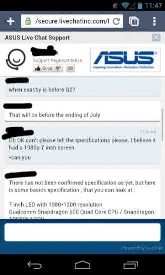 Next-Gen Nexus 7 specs