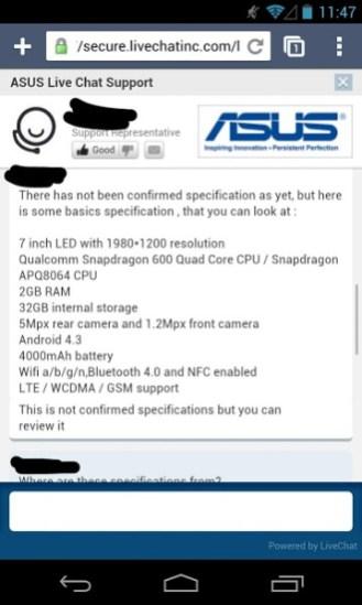 Nexus 7 release data and techinichal specs