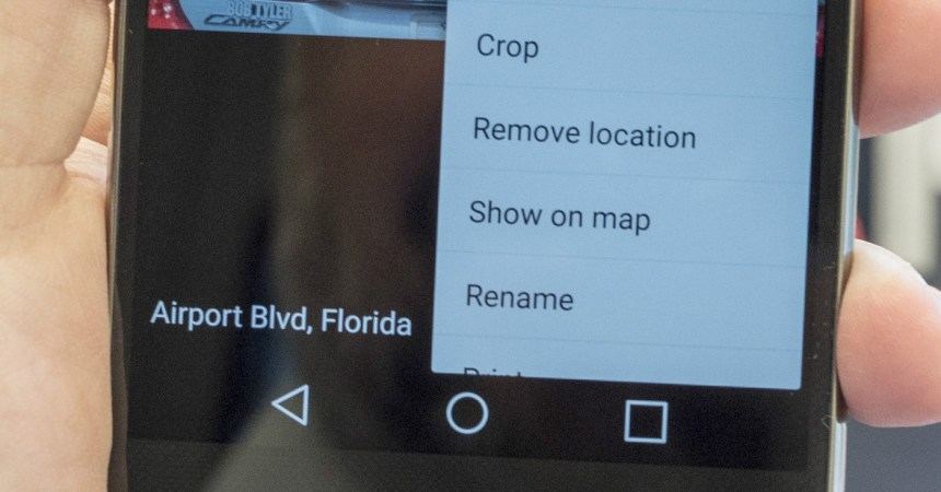 Removing location information in LG G4