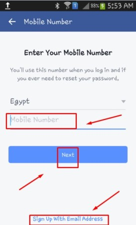 Change the password for Facebook