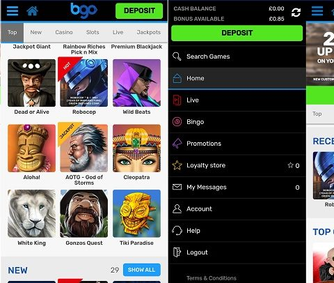Review of bgo's Android casino app
