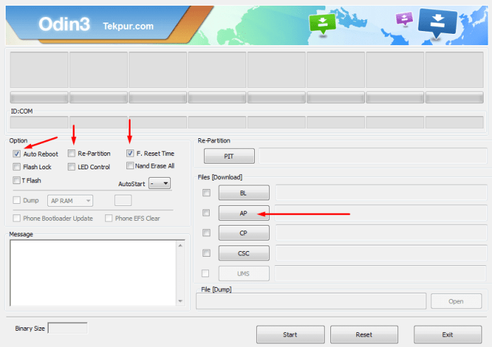 Odin Options After Selecting Android 5.0 Lollipop Firmware File