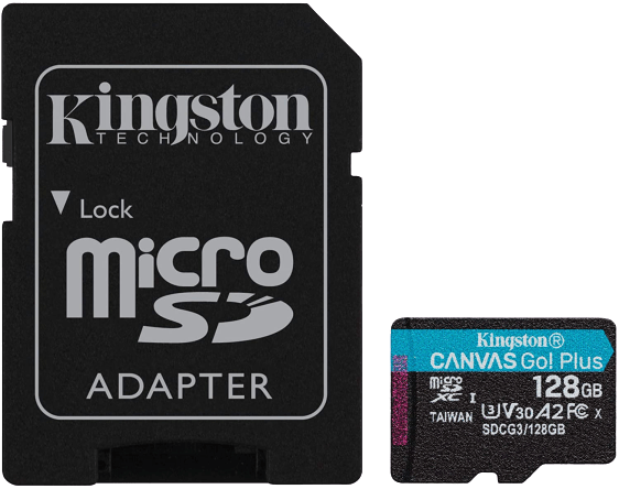 Kingston Canvas Go!  Plus 128GB microSD card with adapter
