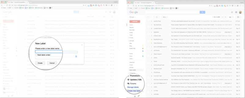 Gmail create a new label