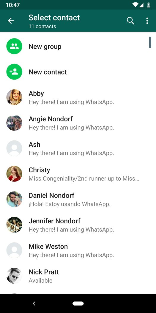WhatsApp contacts page