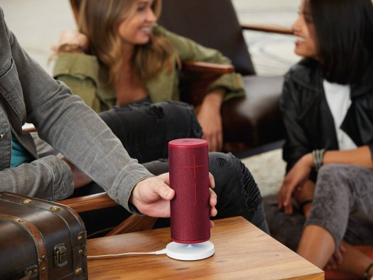 red megaboom 3 bluetooth speaker at a party