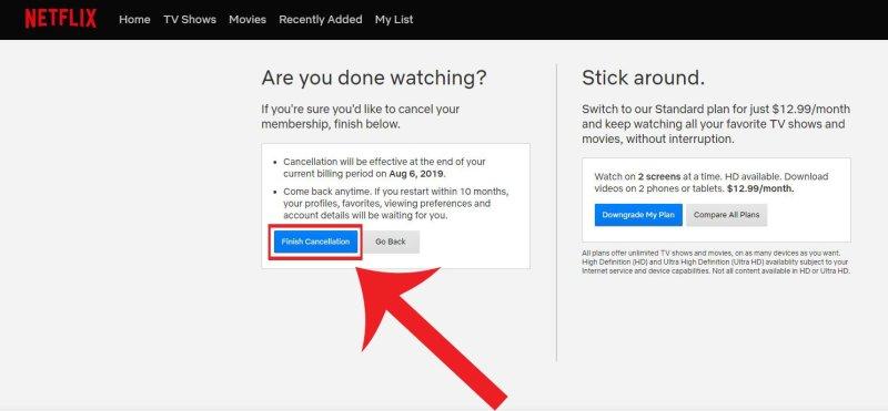 Netflix Confirm Cancel Membership