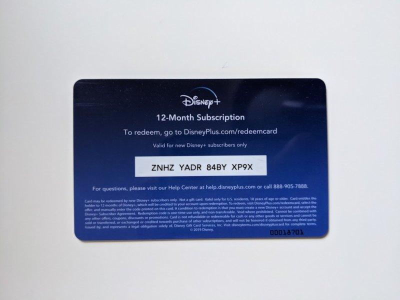 Carte d'abonnement Disney Plus