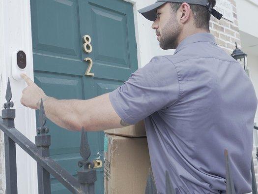 Man Ringing Blurams Doorbell