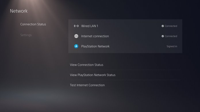 PS5 Network Connection Status