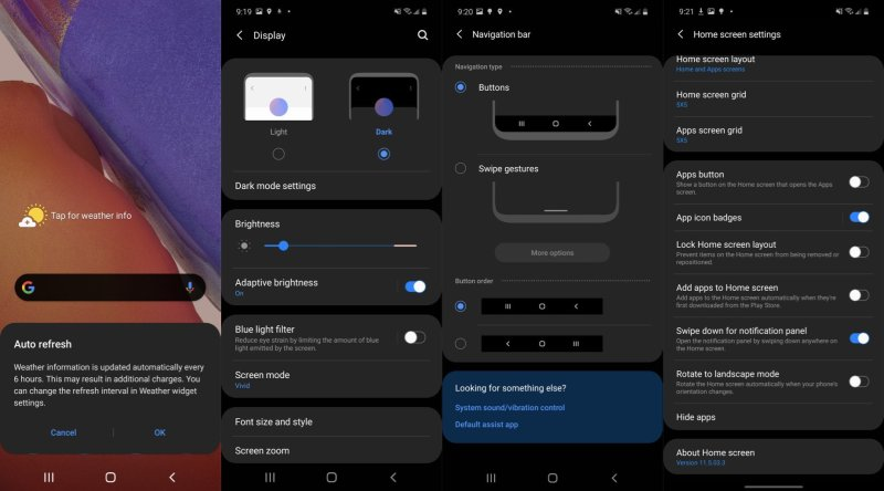 Optional settings on Samsung devices