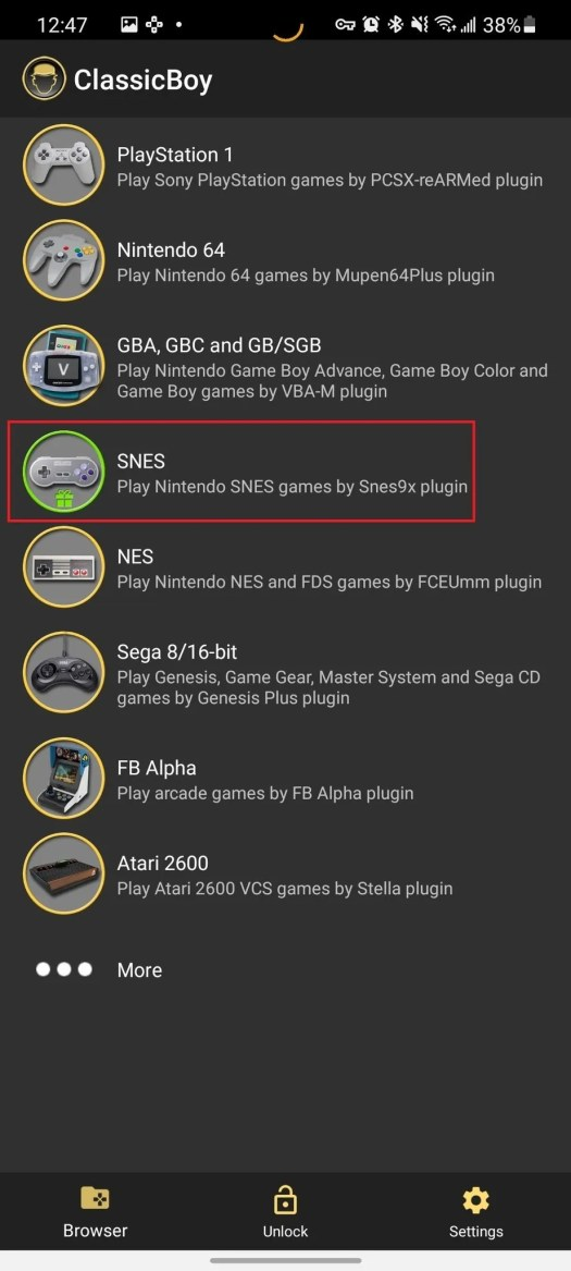 Select Snes From List Classicboy