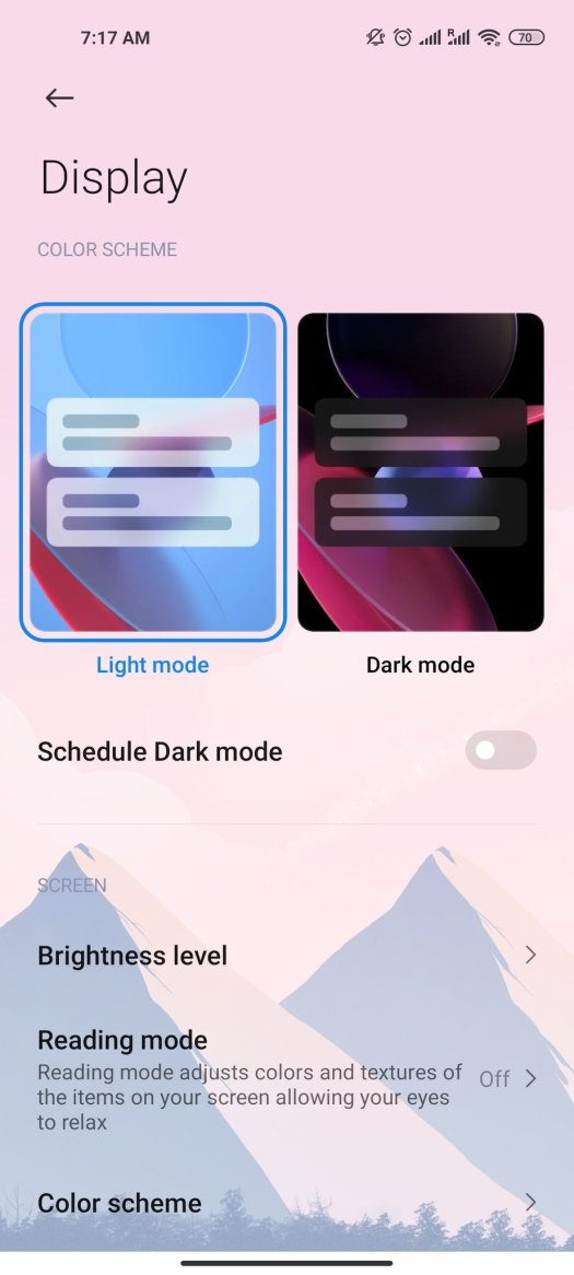 Android 11 Display Settings
