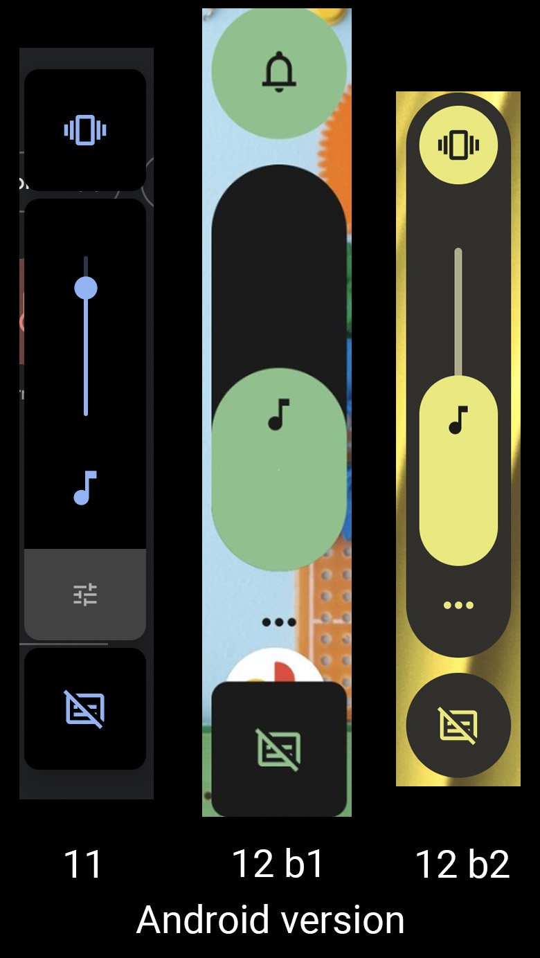 Android 12 Volume Slider Differences