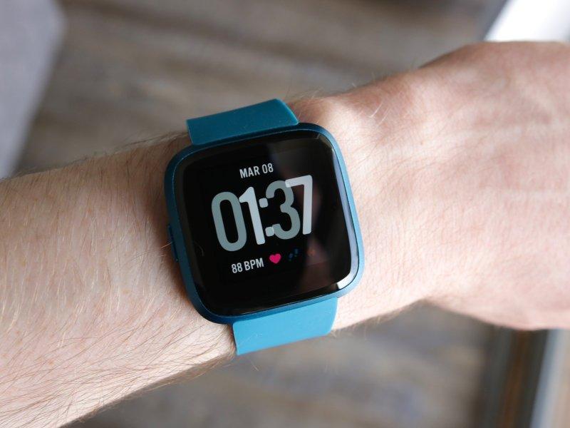 Wearing the blue Fitbit Versa Lite