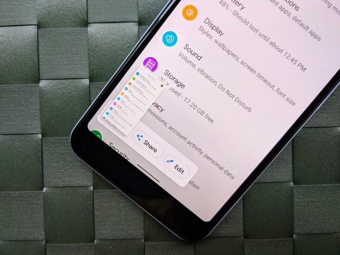Android 11 screenshot menu on Android 11